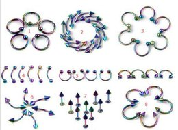 Wholesale Lip Piercing Jewelry For Men - 20lot Mix Stainless Steel Belly Navel 10pcs=1lotTongue Lip Body Piercing body Stud Jewelry for women men F454