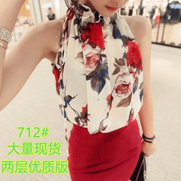 Wholesale floral halter top - 2017 Summer New Style Fashion Women Sleeveless Chiffon Shirts Floral Print Blouse Ruffles Turtleneck Tops Shirt Female Plus Size