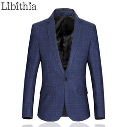 Wholesale Mens Fitted Casual Coats - Wholesale- Plaid Mens Casual Blazer Slim Fit Men Wool Blazer One Button Suit Jacket Blue Big Size 5XL 6XL Coat Luxury Fashion Clothes Party