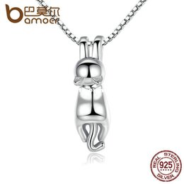 Wholesale Fine Tail - BAMOER High Quality Smooth 925 Sterling Silver Lovely Cat Long Tail Necklaces & Pendants S925 Fine Jewelry SCN032