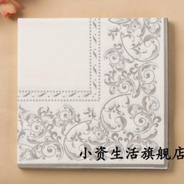 Wholesale Tissue Paper For Packing - Wholesale- 3 packs 60pcs Silver Flourish Napkins Wedding Napkin Paper 100% Virgin Wood Tissue for Party Decoration