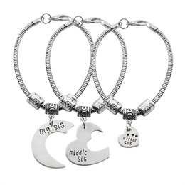 Wholesale Beads Wholesale Moon - 3Pc Set Big Sister Little Sister Bracelet For Women Carved Moon Heart Puzzle Bracelets & Bangles Best Friends Love Bead Pulseras