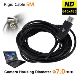 Wholesale Video Inspection Camera Cable - USB Endoscope Camera Video 6 LED 7mm IP67 Waterproof Snake Inspection Borescope Video Tube Pipe USB Mini Camera Rigid Cable 5M