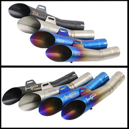 Wholesale Muffler Tail - 355mm Universal 52mm Motorcycle Exhaust Pipe Laser Mark GP HP With Dirt Street Bike Scooter Tail Pipe For YamahaR6YZF Huanglong 300