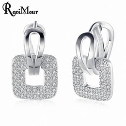 Wholesale Luxury Gifts Drop Ship - New Fashion Square Crystal Zircon Stud Earrings for Women Silver Gold Color Korean Luxury Jewelry Gifts Drop Shipping 2017