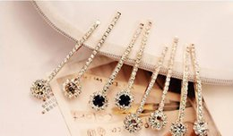 Wholesale Black Heart Hair Clips - New Fashion luxury Long Rhinestone Hair Clip Fashion stones Hair Jewelry For Women Crystal Hair Accessories 7 colors to choose from.