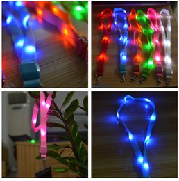 Wholesale Pendant Led Flashes - Fashion Nylon Multi-colors Led Flashing Lanyard ID Card Pendant Hanging Cord For Party, Shows and Outdoor Activities. Led Lighted toys