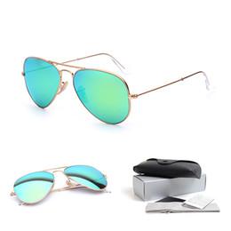 Wholesale Glasses For Sale - Wholesale Sales of High Quality Sunglasses Classic Men Pilot Sunglasses for Women Green Mirror Lens Alloy Gold Frame Lens Width:55 58 62
