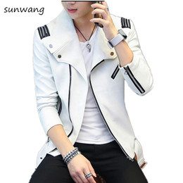Wholesale White Faux Leather Jacket Men - 2017 Spring Harajuku Punk Rock Mens Faux Fur Coats Brand Motorcycle Leather Jackets Men White Black Red camperas cuero hombre