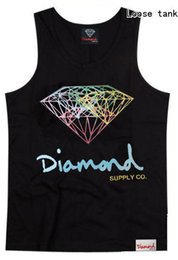 Wholesale diamond loose - European and American fashion 2018 diamond hiphop loose tank tops plus size xxxl top quality sport loose tank tops for men and women summer