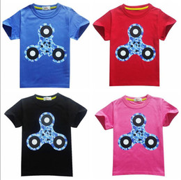 Wholesale Organic Cotton Tee Shirts Wholesale - 2017 New Boys Girls Summer Clothing Short Sleeve Cotton Tops Triangle Hand Spinner Printting Children T-shirts Kids Cartoon Tees