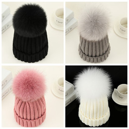 Wholesale Christmas Hats For Adults - 2016 New Winter Women Real Fox Hat with Thick Woolen Knitting Beanies Ski Cap Russian European Styel Hats with Pom Pom Hats for Girls