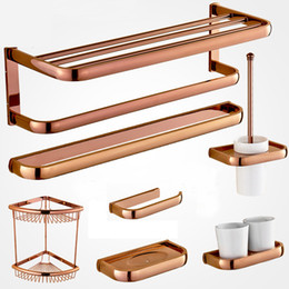 Wholesale Gold Bathroom Toilet Paper Holder - Rose Gold Solid Brass Towel Rack Bath Toilet Paper Holder Toothbrush Holder Bathroom Accessories