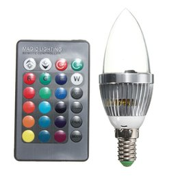 Wholesale color changing candles remote - Big Promotion E14 3W RGB LED Light Bulb 16 Color Changing Candle Light Spotlight Bulb Lamp with Remote Control AC85-265V