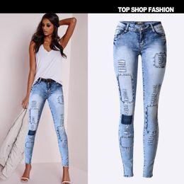 Wholesale Womens Plus Size Skinny Jeans - Wholesale- Jeans Woman 2017 New Hot Fashion Womens Jeans Stretch Slim Pencil Pants Hole Patchwork Denim Pants Plus Size Skinny Jeans Female