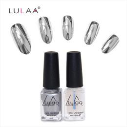 Wholesale Metal Art Effects - Wholesale-New Product Fashion 2pc lot 6ml Silver Mirror Effect Metal Nail Polish Varnish Top Coat Metallic Nails Art Tips nail polish set