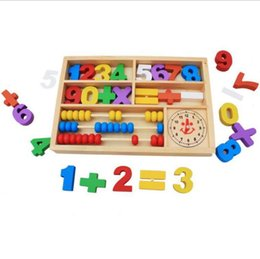 Wholesale Wholesale Wood Pillar - Puzzle Digital Computing Colored Pillars Early Learning Mathematics Enlightenment Wooden Digital Learning Box Game Box Wholesale Free DHL