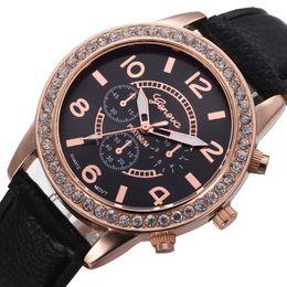 Wholesale Vogue Watches Women - Crystal Dial Quartz watch Analog PU Leather Bracelet Wristwatch Vogue Women watches men Geneva Wristwatches Relogio Feminino 10Colors