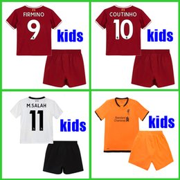 Wholesale Boys Football Jersey Xl - KIDS soccer jersey 2017 2018 M.Salah Gerrard Firmino Football shirt uniform MANE Coutinho LALLANA Sturridege shirt 17 18 boys youth Children