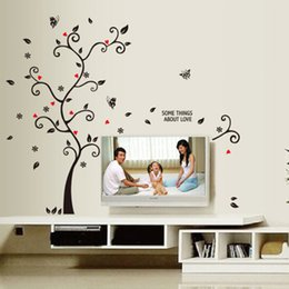 Wholesale Wall Decor Stickers Black Flowers - New Chic Black Family Photo Frame Tree Butterfly Flower Heart Wall Sticker Living Room Decor Room Decals 0706013