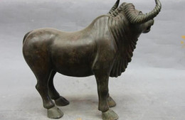 """Wholesale Chinese Figurines Statues - 14"""" Chinese Fengshui Animal Bronze Copper Ox Oxen Bull Buffalo Figurine Statue"""
