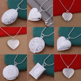 Wholesale Sterling Photo Locket Wholesale - 12 styles Mix styles 925 sterling silver plated heart and pendant necklace fashion jewelry Valentines gift photo Locket