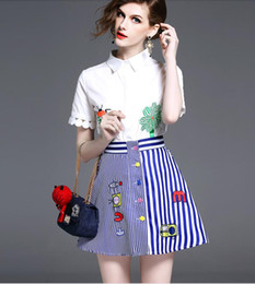 Wholesale Two Piece Letter Dress - Summer Women Fashion Two Piece Sets Ladies Elegant White Embroidery T Shirts Short-Sleeved Blouses + Girls Blue White Striped A-Line Skirts