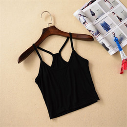 Wholesale Sexy Y Girl - 2015 Fashion Y Strap Tank Crop Tops Cotton Vest Cute Summer Style Women Girl Cropped Top Sexy Camisole White Black Green Grey