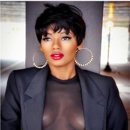 Wholesale Hot Hair Cuts - hot selling charming short cut striaght full wig simulation human hair short straight full wig with bangs for black women