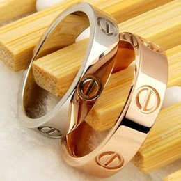 Wholesale 316l Wedding Band - 316L Titanium steel nails rings lovers Band Rings Size for Women and Men in 4.5mm width brand jewelry Hot Sale