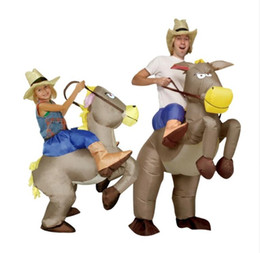 Wholesale Free Adult Tv - OISK Purim inflatable cowboy Dinosaur costume Ride on horse Fancy party dress Halloween cosplay costumes for adult kids