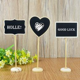 Wholesale Mini Message Chalkboard - Wholesale- 3Pcs Mini Wooden Chalkboard Blackboard Message Table Number Wedding Party Decor