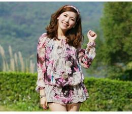 Wholesale Embellished Blouse - Valuable Round Neck Flower Printed Ball Embellished Long Sleeves Blouse Pink