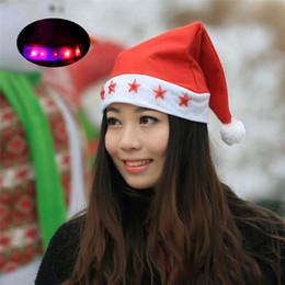 Wholesale Christmas Electric Santa - Nonwoven Red Five Star Light cap Santa Claus Easter Christmas Night Party Hat Cap Adult Size Christmas Santa Xmas Light Hat