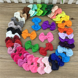 Wholesale Diy Ribbon Bow Hair Clip - XIMA2.5inch mini ribbon hair bows Without clip,DIY handmade cute baby bows for baby grils hair accessories,35pcs lot free shipping.