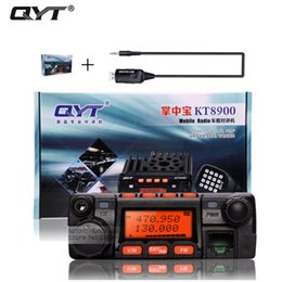 Wholesale Vhf Uhf Car Transceiver - Wholesale- qyt kt-8900 kt8900 vhf uhf mobile radio transceiver kt8900 mini car bus army mobile vhf two way radio station+usb cd