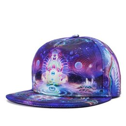 Wholesale wholesale flat bill hats - 3D Baseball Hat Unisex Snapback Hats Adjustable Printed Hiphop Flat Bill Baseball Cap Dance Street Ball Cap