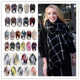 Wholesale Striped Headbands - 40 Colors 140cm Plaid Blanket Scarves Tartan Tassels Scarf Striped Fashion Wraps Check Grid Neckerchief Winter Lattice Shawl 100 PCS YYA490