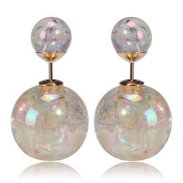 Wholesale Neon Flowers - 2017 Fashion Neon Bubble Crack Double Pearl Earrings for Women Double Side Stud Earrings Brand Statement Jewelr Bijoux