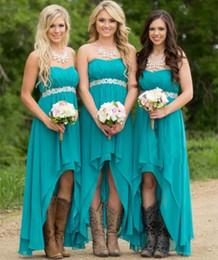 Wholesale Wedding Waist Sashes - Country High Low Bridesmaid Dresses Lace Up 2017 Beaded Waist Chiffon Beach Wedding Party Dress Custom Made