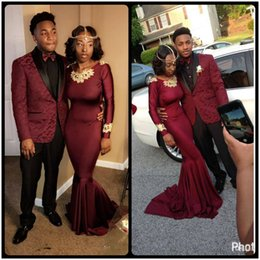 Wholesale Jersey Long Sleeve Dresses - Sexy African Burgundy Prom Dresses 2017 Long Mermaid Women Simple Formal Party Evening Dresses vestido formatura