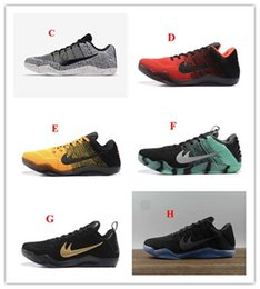 Wholesale Mens High Buckle Boots - 2017 High Quality Men Kobe 11 EM Mamba Day Mens Sports Shoes Kobe XI Low Elite Athletic Sports Sneakers Boots Black Gold Dropshipping