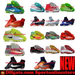 Wholesale Orange High Boots - 2017 Mens Football Boots Neymar JR Cheap Magista Obra 2 Mercurial Superfly CR7 FG Soccer Cleats High Top Soccer Shoes New Cristiano Ronaldo
