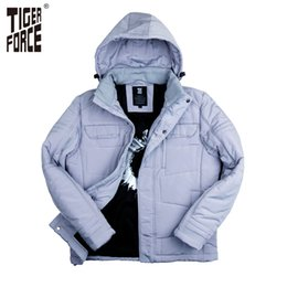 Wholesale Duck Collection - Wholesale- TIGER FORCE 2016 New Collection Men Parkas Fashion Cotton Jacket Casual Padded Coat Nylon Solid Zipper Free Shipping 7718