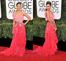 Wholesale Zoe Dresses - Two-shade Ruffled Pink Chiffon Deep V Neck Prom Evening Dresses Zoe Saldana Golden Globes 2017 A-Line Tiered Ruffled Formal Celebrity Gowns
