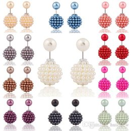 Wholesale Korean Black Pearl Earrings - Earings for Woman Girls Brand New Korean Double Pearl beads clay Crystal Ball Brand New Fashion Two Ends Pearl Studs Earring