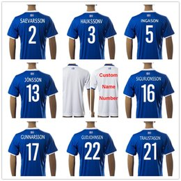 Wholesale Shirt White - Iceland Soccer Jerseys 6 SIGURDSSON 5 INGASON 9 SIGTHORSSON 17 GUNNARSSON 22 GUDJOHNSEN 21 TRAUSTASON 13 JONSSON Football Shirt Uniform
