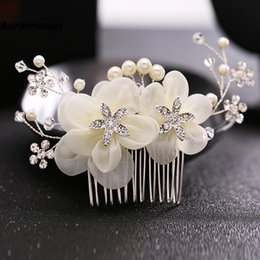 Wholesale Flower Clips Headbands - New Arrival 2017 Wedding Hair Combs Tiara Diamond Silk Flower Pearl Combs Wedding Hair Accessories Bridal Hair Clip Headdress Bride Headband