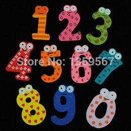 Wholesale Numbers Magnets Set - Wholesale- Set of 10 Number Wooden Cute Fridge Magnet Kid Baby Education Learning Toy Gift