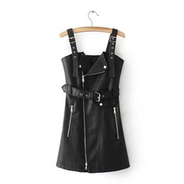 Wholesale Black Strapless Leather Dress - Europe Restore Ancient Ways Autumn Period New Leather Straps Dress Pure Color Cultivate Morality Leisure A Word Waist Render Skirt Dress